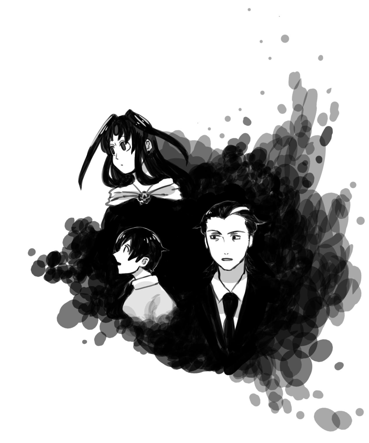 髪が黒い3人