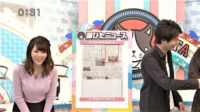 岡村帆奈美~テレビ神奈川の巨乳姫が薄紫のニット服でエロ過ぎる胸元を強調!0009shikogin