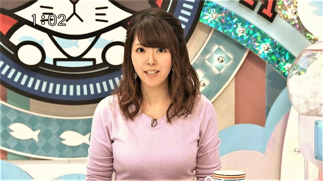 岡村帆奈美~テレビ神奈川の巨乳姫が薄紫のニット服でエロ過ぎる胸元を強調!0003shikogin