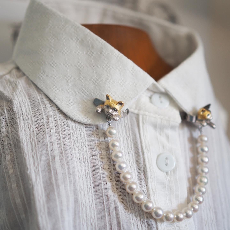 三毛と茶トラの襟ネックレス