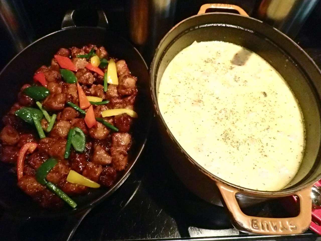 ポークフリットバルサミコ風、チキンと茸のフリット
