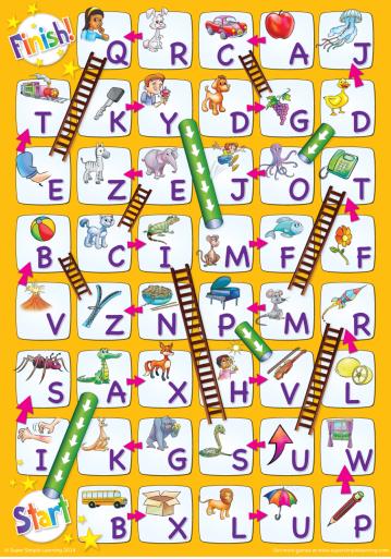 無料英語アルファベットすごろく台紙Alphabets board game