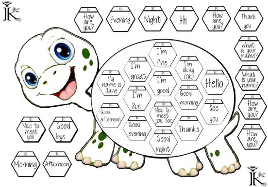 英語の挨拶学習プリントペーパークラフトワークシートgreetings turtle