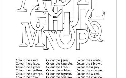 alphabets and colors