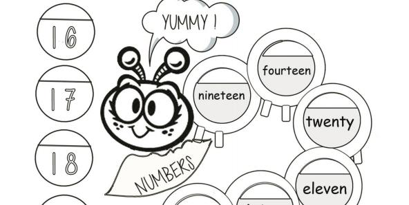 英語数字無料ワークシートhungry caterpillar worksheet