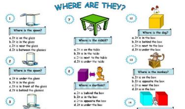 イラスト付き小学生向け場所を表す前置詞選択式学習プリントpreposition test