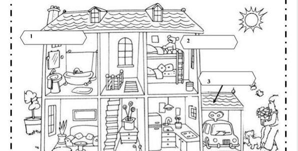 英語家にある部屋色々な部屋の名前rooms worksheet3