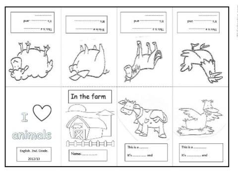 農場にいる動物英語手作り絵本farm animal minibook