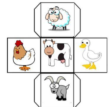 動物イラストサイコロ台紙animal dice