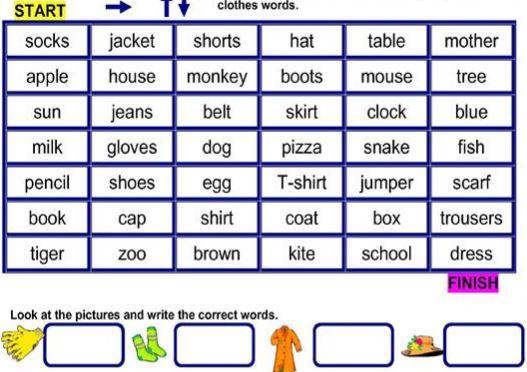 服の名前英単語学習用プリントclothes worksheet
