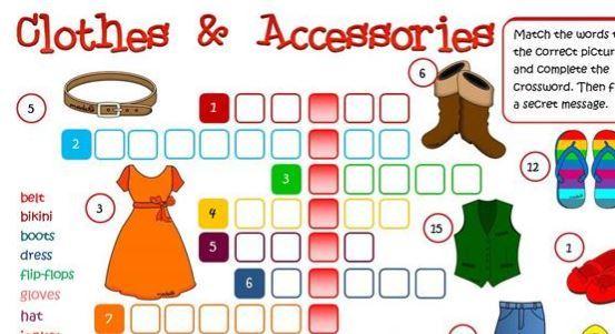 衣類の名称学習用英語プリントclothes worksheet1