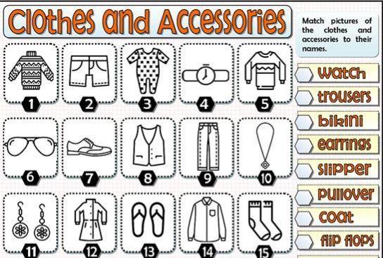 英語服の名前英単語学習用ワークシートclothes worksheet2