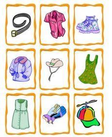 服のイラストカードclothes flashcards