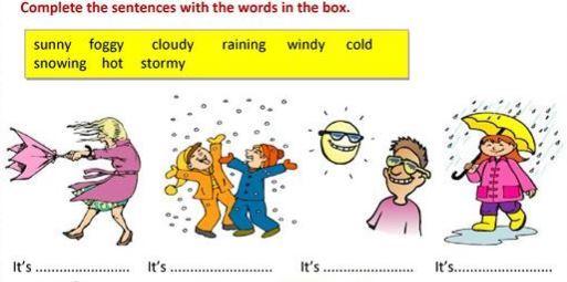 英語天気天候学習プリントweather worksheet