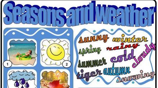 天気や季節の名前英単語学習プリントweather worksheet2