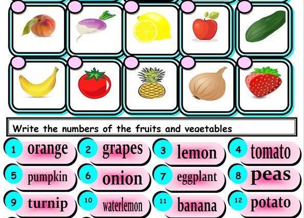 英語野菜果物ワークシートfruit and vegetable worksheet 2