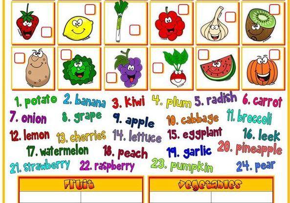 野菜果物英語学習プリントfruit and vegetable worksheet