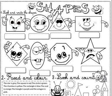 英語図形の名前学習プリントshapes worksheet6