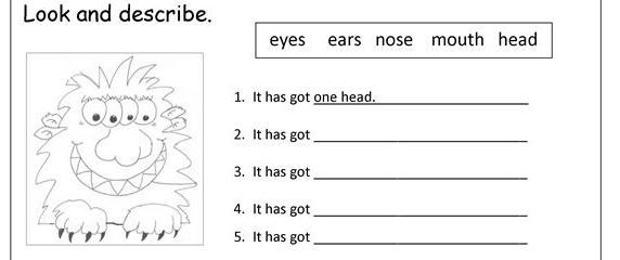 body parts worksheet7
