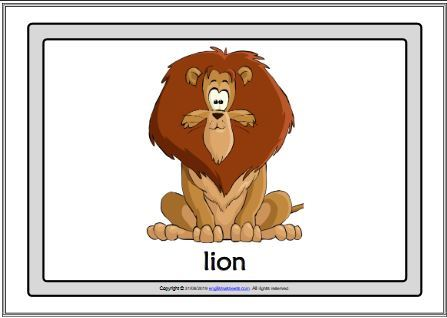 esl flashcards lion
