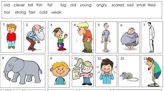 反対語形容詞学習プリントopposite worksheet2