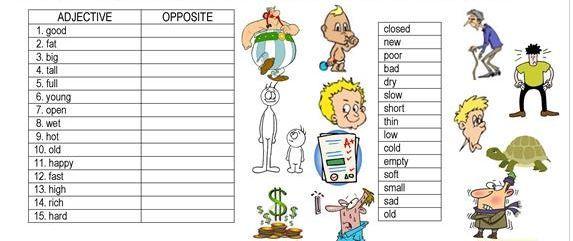 反対語形容詞学習プリントopposite worksheet7