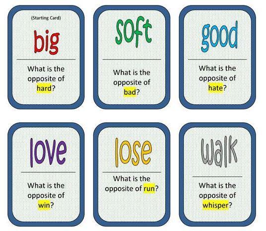反対の言葉英単語ドミノカード台紙opposite words domino2