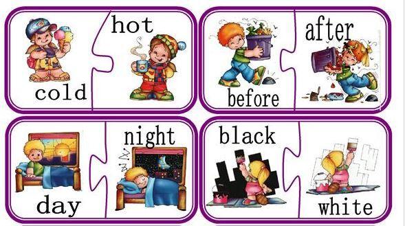 英語反対の言葉パズル台紙opposite words puzzle1
