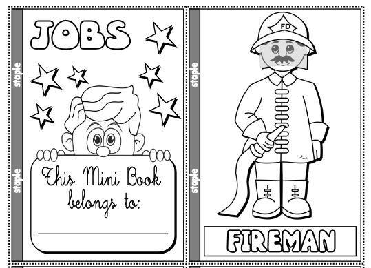 英語手作り職業絵本テンプレートjobs minibook
