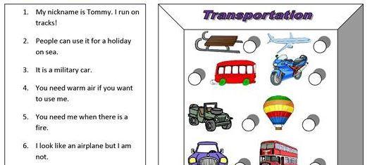 transportation worksheet11 for kids