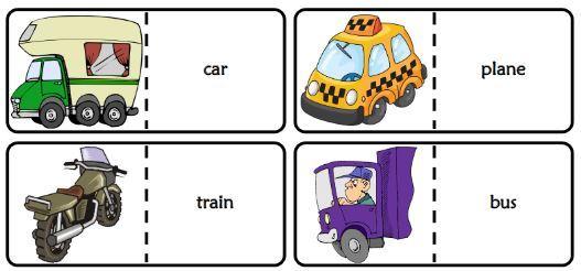 transportation domino game英語乗り物ドミノゲームカード