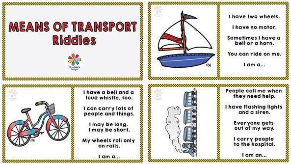 Means of Transport RIDDLES DOMINOE 英語乗り物なぞなぞドミノカード