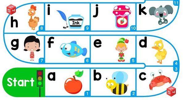 英語アルファベットスゴロク台紙esl alphabet board game