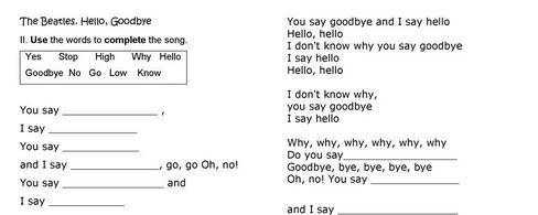 Hello goodbye lyrics