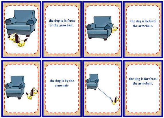 場所を表す前置詞カードゲーム prepositions of place memory game