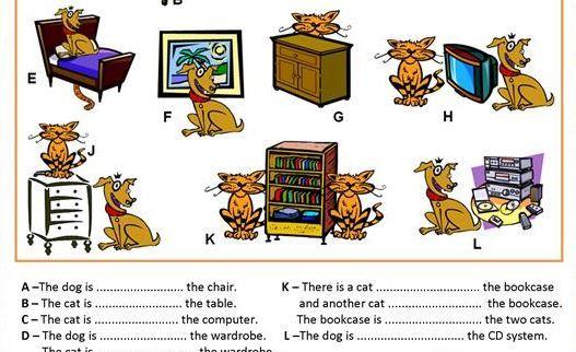 場所を表す前置詞学習プリント prepositions of place worksheet6