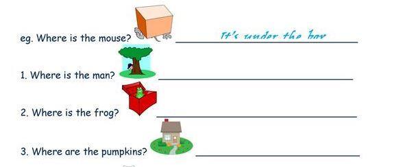 記述式場所を表す前置詞学習プリントprepositions of place worksheet7