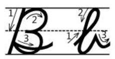 英語筆記体Bb書き順cursive alphabetB