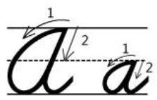 英語筆記体Aa書き順cursive alphabetA
