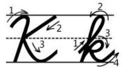 アルファベットKk筆記体書き方書き順 cursive alphabetK