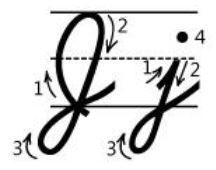 アルファベットJj筆記体書き方書き順 cursive alphabetJ