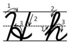 アルファベットHh筆記体書き方書き順 cursive alphabetH