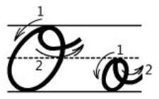 アルファベットOo筆記体書き方書き順cursive alphabetO