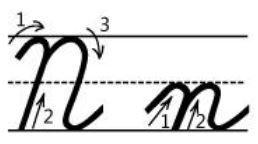 アルファベットNn筆記体書き方書き順 cursive alphabetN