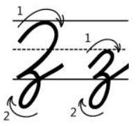 アルファベットZz筆記体書き方書き順cursive alphabetZ
