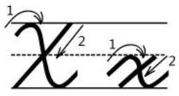 アルファベットXx筆記体書き方書き順cursive alphabetX
