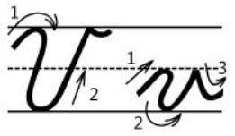 アルファベットVv筆記体書き方書き順cursive alphabetV