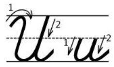 アルファベットUu筆記体書き方書き順cursive alphabetU