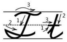 アルファベットTt筆記体書き方書き順cursive alphabetT