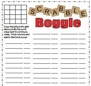 英語ゲームボグル無料ワークシートenglish game boggle worksheet blank1